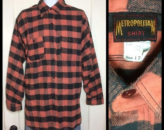 1920's 1930's Deadstock Antique Buffalo Plaid soft Flannel size 17 large to XL Salmon Peach Black gussets nos by Metropolitan Shirt Company