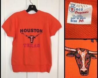 1960's Houston Texas Longhorns short sleeve sweatshirt Neon pink print size Medium 19x20.5 bright orange souvenir athletic bull animal