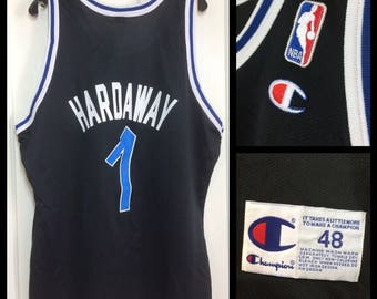 1990's Penny Hardaway number 1 Orlando Magic NBA Basketball team black Champion Jersey Tank size 48 XL