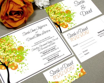 Dotted Tree Wedding Invitations Spring Wedding Invites Orange Lime Yellow Pocket Folder Rustic Wedding Invitation Suite by RunkPock Designs