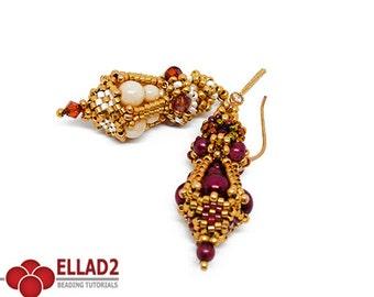 Tutorial Cora Earrings - Beading Tutorial, Beading Pattern, Earrings Tutorial, Instant download, Ellad2