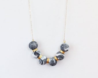 Black Swirl Clay Bead Necklace / Polymer Clay Bead Necklace / Black / Gold / Jewelry Under 50 / Gifts for Her