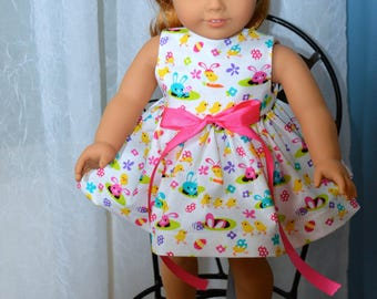 18 Inch Doll Clothes Two Piece Easter Outfit Sleeveless Easter Print Dress and Matching Panties by SEWSWEETDAISY