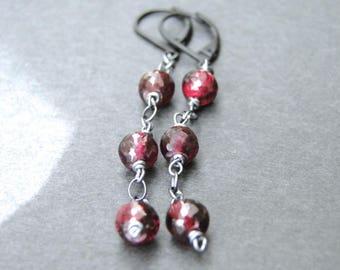 Jewelry, Sterling Silver Gemstone Earrings, Garnet Dangle Earrings, Gemstone Earrings, Gift for Her, Accessories