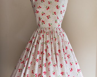 1950s Strawberry and Polkadot Print Dress