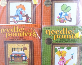 Needle Pointers Needlepoint Kits Lot Beginner Easy DIY by Sunset Designs 1970s