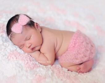 Pink Mohair Skirt and Headband Set Newborn Baby Photography Prop