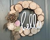 Rustic spring wood slice wreath | wood flowers | burlap | sola flowers