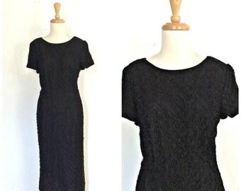 Vintage Shift  Dress - black party dress - cocktail dress - 1960s dress - Korell - lbd - M L