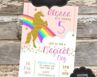 UNICORN Custom Birthday Invitation - Digital File, You Print - 5x7 or 4x6 - Words Customizable
