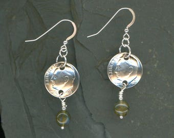 45th Birthday 1972 Silver Dime Labradorite Earrings 45th Birthday Gift 45th Anniversary Gift Coin Jewelry Best Friend Gifts