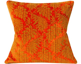 Orange and Gold Damask Velvet - Vintage Velvet Pillow Cover - 20 inch - Floral - botanical - mid century - ready to ship