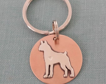 Boxer Standing Dog TaGette Keychain FOB Sterling Silver, Copper, Pet Memorial, Keepsake, Gift idea