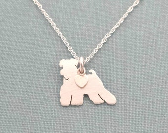 Miniature Schnauzer Dog Necklace, Sterling Silver Personalize Pendant, Breed Silhouette Charm Rescue Shelter, Dog Lover Gift
