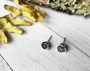 Rose Earrings - Fine Silver - Handmade - Hand Sculpted - Stud Earrings - Post Earrings - By Ashley Goings - Goingsnake Silver