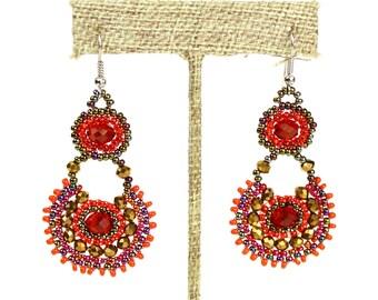 Hand beaded red garnet earrings crystalicious #111