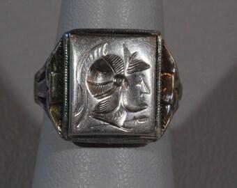 Ostby Barton Men's 10K Gold Sterling Silver Hematite Intaglio Ring, Warrior Roman Solider Sheild Ring