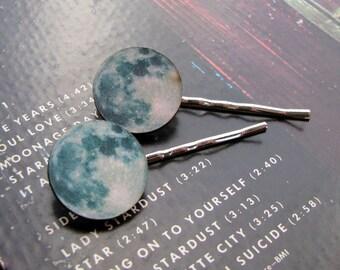 full moon hair clip set - 2 blue moon bobby pins