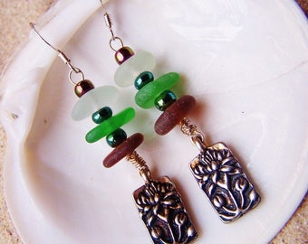 Sea Glass Earrings in Earth Tone Colors with Sterling Coated Pewter Lotus Flower Charm EM 20