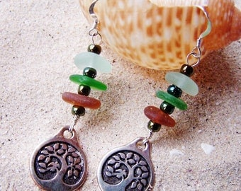 Stacked Sea Glass/Beach Glass Earrings with Earth Tone Glass and Silver Coated Pewter Tree of Life Charms on Sterling French Ear Wires EM 30