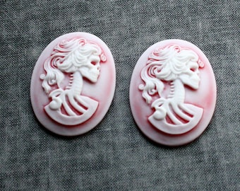 Skull Cameo Skeleton 40x30 Cameo Lady Skull Lolita Skull - Set of 2