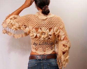 Beige Shrug, Bridal Shrug, Bolero, Crochet Bolero, Evening Wear, Party, Wedding Shrug, Crochet Lace Shrug, Boho Chic, Hippie Wedding, Cape