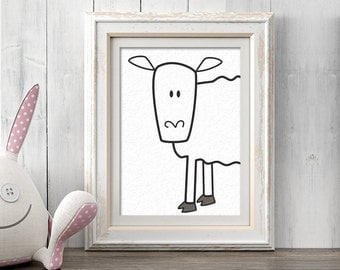 Nursery Decor, Chicken Nursery Wall Art, Sheep Print, Printable Art, Animal Art Print, Farm Art, Barnyard Art, Animal Decor, Lamb