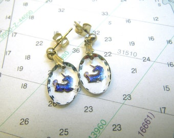 Intaglio Carved Glass Blue Unicorn Earrings - Small Ovals - 12K Gold Filled