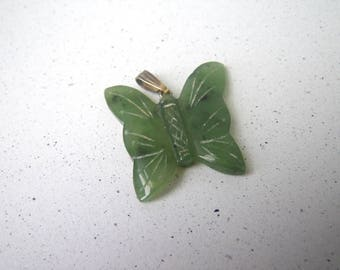 Green Jade Carved Butterfly Pendant Translucent
