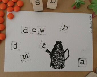 Teekanne Zeichnung: Black & White Dew-version