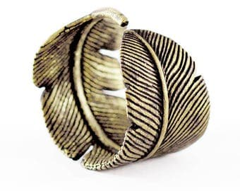 Gold Feather Ring Mens Rustic Brass Rings Jewelry for Men