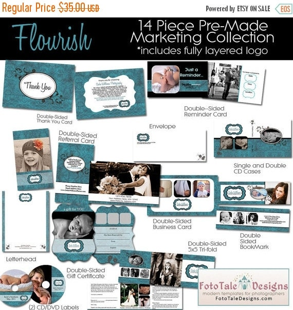 SALE Flourish Marketing Template COLLECTION- custom branding templates for photographers- 14 must-have marketing products