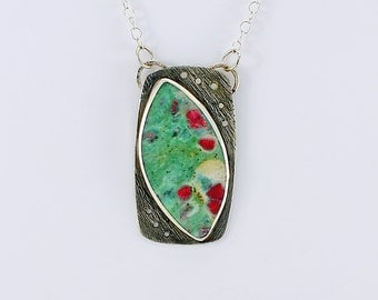 Handcrafted Sterling Silver Ruby in Fuschite Pendant Red Green Designer Cabochon Contemporary Artisan One of a Kind Jewelry 21776305111516