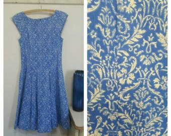 Vintage 60's Cotton Print Dress, blue and white, size 36 busy, #64596