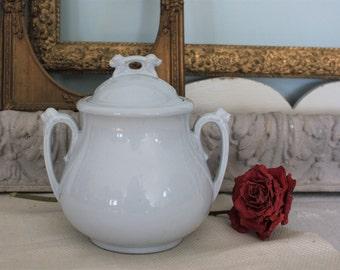 Antique English James Edwards White Ironstone Covered Sugar Bowl