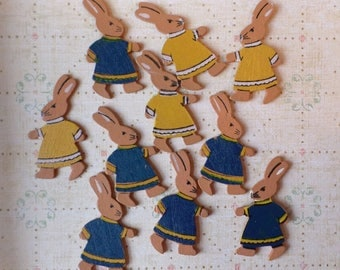 Bunnies  Shape In A Dress 10 Pieces Wood Hand Painted 2 Sided