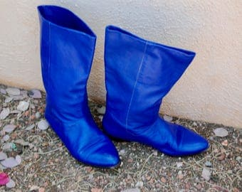 Vintage Indigo Leather Slouch Boots