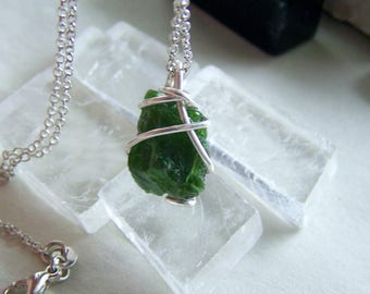 Natural Green Chrome Diopside Gemstone Crystal Necklace