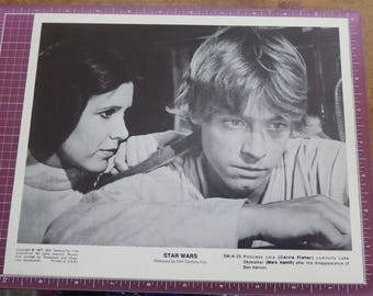 OMG - Everything Is Just 9.99 - Check out my shop! 1977 Star Wars Photo Luke Skywalker & Princess Leia 8x10 Black White