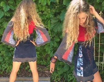 SALE Eco Tunic Dress, size XS-M hippy dress, boho tunic dress, patchwork tunic, festival dress,kimono sleeve dress, patchwork dress,red mix