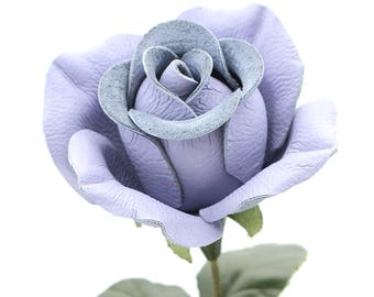 Periwinkle leather rose third Anniversary wedding gift long stem leather Flower Valentines 3rd Leather Anniversary