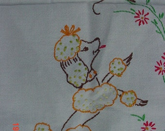 Vintage Embroidered Table Runner With French Poodle & Butterfly  17 - 191