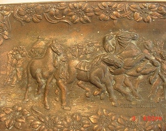 Vintage Tray Styled After The Painting The Horse Fair By Bonheur  17 - 435
