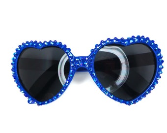 Royal Blue Heart Shaped Sunglasses Covered In Matchin Royal Blue Iridescent Rhinestones