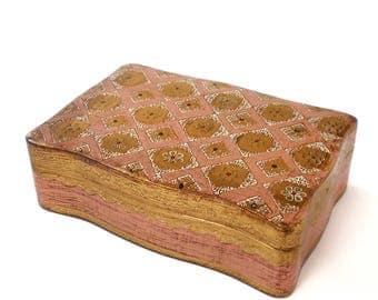 Vintage Italian Box Florentine Pink and Gold