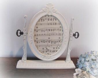 Oval Picture Frame, Shabby Chic Cream Oval Frame, Ornate Wedding, Nursery Antique White Frame