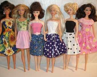 "Handmade 11.5"" fashion doll clothes - mixed lot of 6  dresses"