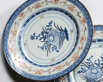 """2 Chinese Porcelain Plates - Traditional Tienshan 8""""  Blue and White Rice Grain Patterned"""