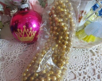 Going Out Of Business Vintage Shiny Brite Glass Garland-NOS_Made in Japan-Original Package-GOLD