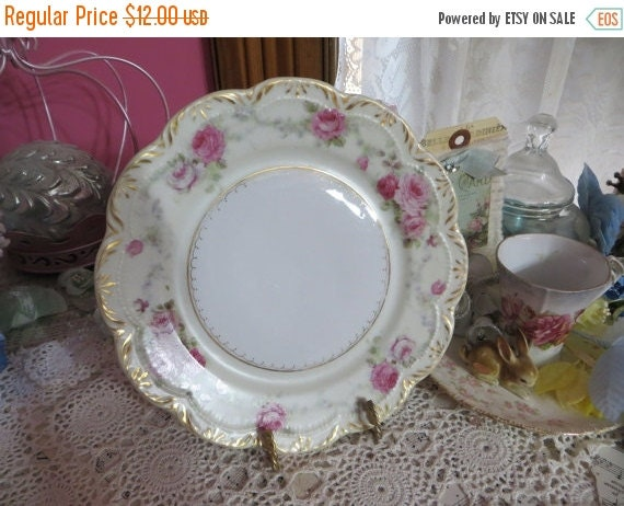 ON SALE Vintage Hand Painted Plate-Marked-Dessert-Roses-8 inch-Germany-Pink Roses-Shabby-Cottage-Chic